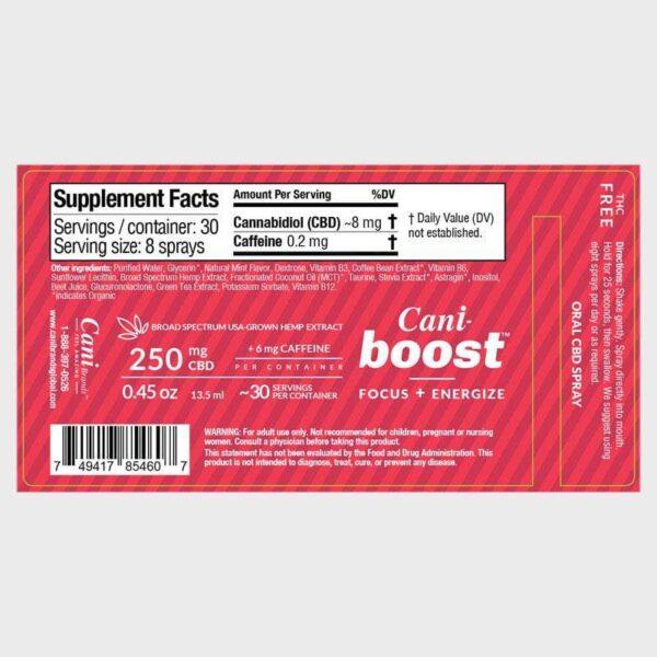 Cani-Boost Broad Spectrum CBD Oral Spray Label