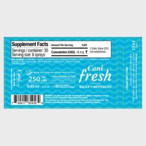 Cani-Fresh Broad Spectrum CBD Oral Spray Label