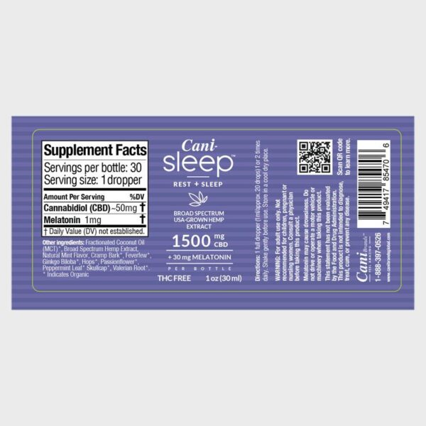 Cani-Sleep Broad Spectrum CBD Oil Label