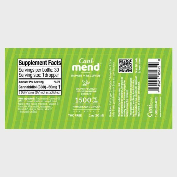 Cani-Mend Broad Spectrum CBD Oil 1500 Label