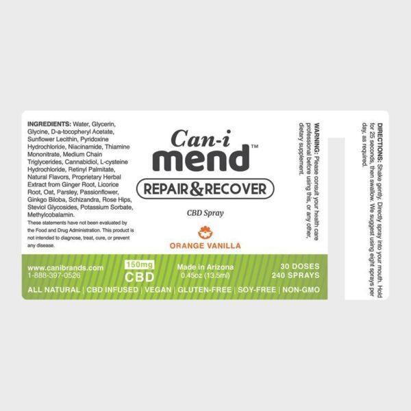 Cani-Mend CBD Oral Spray 150 label