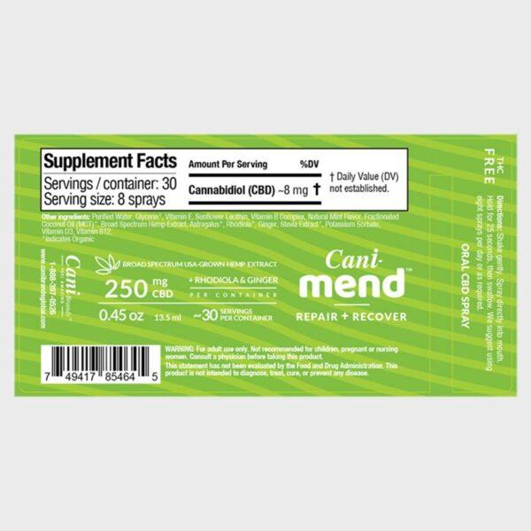 Cani-Mend Broad Spectrum CBD Oral Spray 250 Label